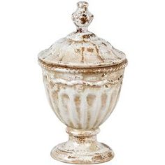 "Weathered ceramic jar with classic detailing and a lid.   Product: Lidded jarConstruction Material: CeramicColor: Antique whiteDimensions: 12.5"" H x 7.5"" DiameterCleaning and Care: Wipe with a clean dry cloth"