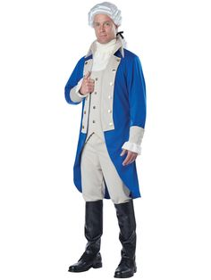 California Costumes Men's George Washington, Blue/Tan, Medium: Dress as the first President of the united states. The George Washington costume includes: coat with attached vest, knickers pants, neck tie cravat and boot covers. Shoes and wig not included. Hamilton George Washington, George Washington Costume, Hamilton Costume, Hamilton Cosplay, Knickers Pants, Costume Supercenter, California Costumes, Fancy Dress Accessories, Fancy Dress Up