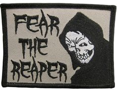 "[Single Count] Custom and Unique (2 1/2"" x 3 1/2"" Inches) Fear The Reaper Text & Death Iron On Embroidered Applique Patch {Gray, White & Black Colors} mySimple Products http://www.amazon.com/dp/B0161N4BAO/ref=cm_sw_r_pi_dp_Z.PMwb1D32MV1"