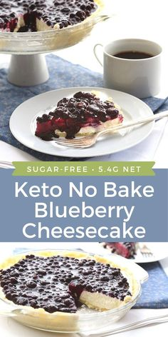 Happiness is this Keto Blueberry Cheesecake! Creamy no-bake vanilla cheesecake in a sweet almond crust with a sugar-free blueberry topping. No Bake Blueberry Cheesecake, Blueberry Topping, Blueberry Desserts, Low Carb Cheesecake, Cheesecake Recipes, Homemade Cheesecake, Classic Cheesecake, Low Carb Sweets, Low Carb Desserts