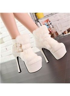 Adorable white Fur boots with gold clasps