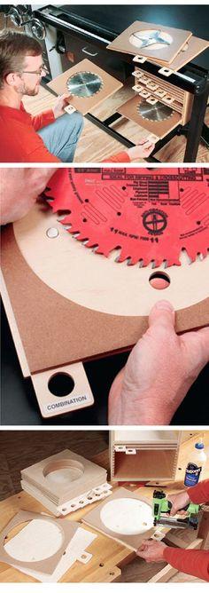 HOW TO BUILD TABLE SAW BLADE STORAGE AND ORGANIZER     http://www.rockler.com/how-to/build-table-blade-storage-organizer/