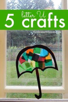 Letter U crafts for preschool... these pretty window umbrellas were our favorites!