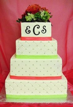 wrong colors - but preppy pink and greenish wedding cake with initials!