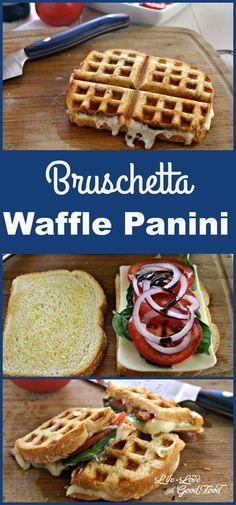 Bruschetta Waffle Panini | Life, Love, and Good Food #nationalgrilledcheeseday #recipe
