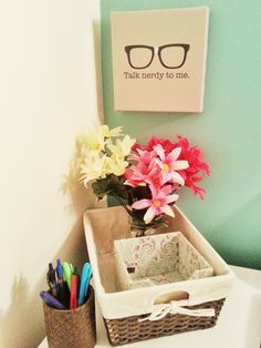 We love the fresh and clean look of Emily's workspace including our Makati Baskets and Pandan Pencil Cup! | Hudson and Emily