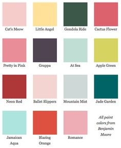 Dorothy Draper Paint Chips from Benjamin Moore | Apartment Therapy I love At Sea for the dining table and chairs.