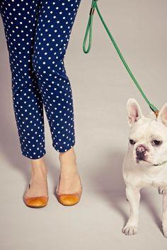 blue pants polka dot