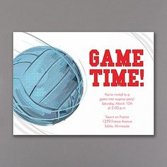 Game Time! Volleyball - Invitation. Available at Persnickety Invitation Studio.