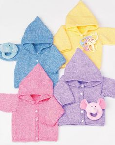 Free knitting pattern sizes 6 to 24 months . Knit Simple Baby Hoodies cardigan sweater 4mm needles