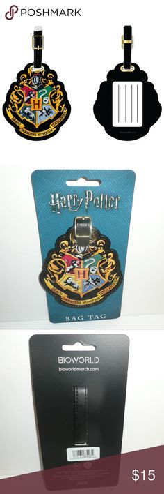 """Harry Potter Hogwarts Crest Luggage Travel ID Tag This is for 1 Harry Potter themed luggage / bag tag.  This tag features the Hogwarts School Crest.    The back side has a clear window so you can see your information.    Item measures roughly 4"""" x 3.5"""".  Not including the strap.   Brand: Bioworld   Officially Licensed merchandise.    CONDITION - New  Check out my Posh for more Luggage Tags and other great items! Bioworld Bags"""