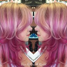 Strawberries & Cream!!! Refreshed my friend Donna's pink today and finished with a cut and round brush blowout.  pink is a mixture of joico intensities Hot Pink, Magenta & Wild Orchid