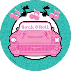 """Fabulous Party Dessert Plates feature a classic car design with a """"Rock Rock And Roll Birthday, 50s Rock And Roll, 50th Party, Birthday Party Themes, Boy Birthday, 50s Theme Parties, Grease Party, Thema Deco, Sock Hop Party"""