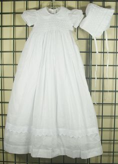 NEW NWT Classic WHITE Smocked Christening/Baptism Dress-Gown/Bonnet 3-PC 6/9M #Gown