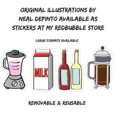 Food and Beverage Stickers - illustrations by Neal DePinto.  Large format perfect for anything really.  They're removable and usable and come in many sizes.  Available here http://www.redbubble.com/people/nealdepinto/works/20027238-blender?grid_pos=2&p=sticker #stickers #food #coffee #fun #slaps #illustrations #beverages #art