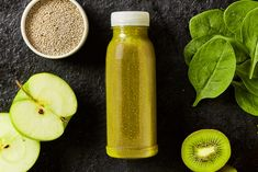 Fresh Spinach Kiwifruit Apple Smoothie Chia Stock Photo (Edit Now) 674896534 Apple Smoothies, Cantaloupe, Cucumber, Spinach, Remedies, Health Fitness, Food And Drink, Diet, Stock Photos