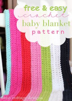 Crochet pattern by Daisy Cottage Designs - Skill level Easy - Using simple stitches and repeating rows, this striped crochet baby blanket will soon become your go-to pattern when you need an easy blanket to crochet. Finished with a cute scalloped edging, this baby blanket is as magical as can be.