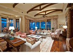Family Room with wood floor and exposed beams - Gunther Estate - Bay Colony Golf Estates - Melinda Gunther Naples Realtor
