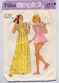 Vintage 1970s Babydoll Nightgown Sewing Pattern Simplicity 7354 Summer Nightie and Bloomers Junior Teen Size Small. $5.00, via Etsy.
