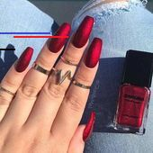 50 Creative Red Acrylic Nail Designs to Stimulate You – Long Coffin Nails Fall Nail Art Designs, Red Nail Designs, Acrylic Nail Designs, Red Acrylic Nails, Red Nails, New Year's Nails, Swag Nails, Red Manicure, Gorgeous Nails