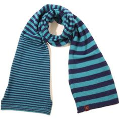Plum of London - Knitted Layered Striped Scarf Blue ($41) ❤ liked on Polyvore featuring accessories, scarves, alpaca scarves, summer shawl, summer scarves, striped shawl and alpaca shawl