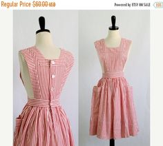 1950s Candy Striper Pinafore/Dress $48 by SassySisterVintage
