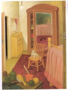 F. Botero bedroom with cat, cats in art
