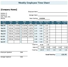 Download the Time Sheet Template with Breaks from Vertex42.com