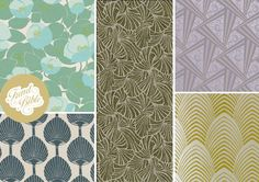 Wallpapers and Fabric (clockwise from top left): Poppies by Amy Butler: Fans by Signature Prints: Zenith by Bradbury and Bradbury: Arkona by Harlequin: Ikeda by Signature Prints