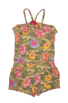 This trend-right romper has just about everything she could want - a fantastic tropical flower camouflage print, a girly ruffle at the neckline and handy pockets for storing all her little scavenger hunt treasures. Jumpsuits For Girls, Girls Rompers, Tropical Flowers, Camouflage, Girly, Spring 2015, Biscotti, Womens Fashion, Neckline