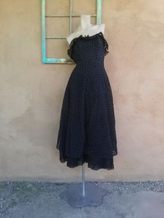 Vintage 1950s Strapless Gown Black Eyelet Dress xSMALL W25 2012323 - pinned by pin4etsy.com