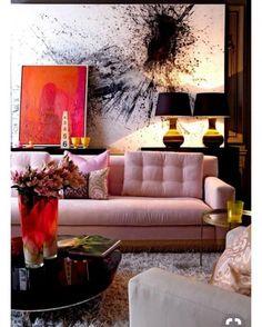 Love this living room decor idea with layered artwork #LivingRoomDecor #HomeDecorIdeas @istandarddesign