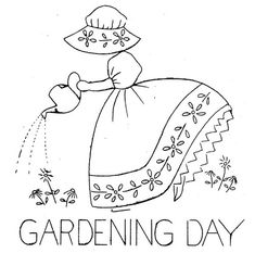 free embroidery tea towel patterns | Hand Embroidery Pattern 124 Old Sunbonnet Colonial Girl for Tea Towels ...