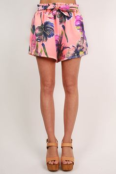 Meet Me in Miami Floral Shorts in Neon Peach