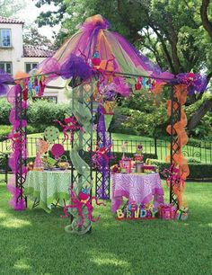 Gazebo covered with deco mesh