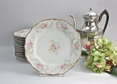 Antique Elite Works (Bawo & Dotter) Luncheon Plates  ♥ See more at www.PeriodElegance.etsy.com