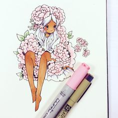 Girl. Drawing. Flowers. Pink