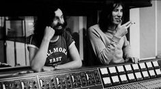Nick Mason and Roger Waters in the studio.