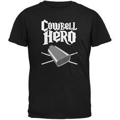 Cowbell Hero Black Adult T-Shirt