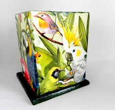 Tropical Birds Pencil holder by Sybillinart on Etsy, $19.50