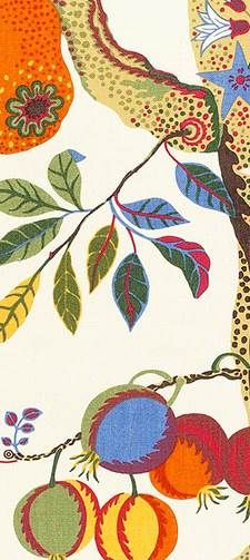 Josef Frank 'Vegetable Tree' close-up. Joseph Frank, Colorful Quilts, Surface Pattern Design, Botanical Art, Swedish Wallpaper, Printing On Fabric, Print Patterns, Illustration Art, Motifs