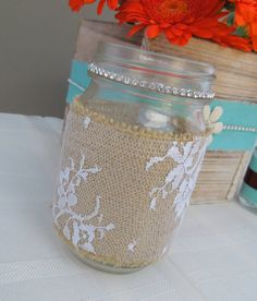 Rustic Wedding Mason Jar Table Decor Swarovski by LoveBirdsDecor, $12.50