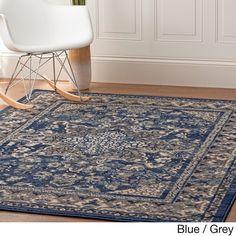 Blue/Grey Nylon Machine-woven Oriental Rug (7'10 x 9'10)
