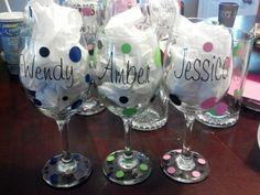 Personalized wine glasses/ bridal shower, wedding, birthdays, girls night out , wedding party. $8.00, via Etsy.