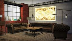 Urban Industrial Living RoomChesterfield SofaChesterfield LoveseatChesterfield ArmchairWorld Map PaintingSimple Set Ceiling LightCounter Balance Floor LightDownload: [X]Credits: Syl@TSR, ShinoKCR, Lis0, @bluehoppersimming (TS3 Simple set conversion) and @marcussims91