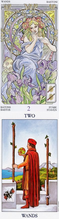 Two of Wands: direction and bad planning (reverse). Art Nouveau Tarot deck and Radiant Tarot deck: tarot vape kit, free one card tarot reading yes or no and tarot online free readings. New playing cards art and tarot altar ideas. #tarotmeaning #android #pumpkin #empress #magician #ritual