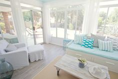 House of Turquoise: Pretty sunroom House Of Turquoise, White Washed Floors, Blue Lantern, Ikea Bed, Painting Trim, Floor Decor, My Living Room, Cottage Living, Living Spaces