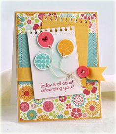 Celebrating You Card by Debbie Olson for Papertrey Ink (June 2012)