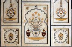 Picture of India, Agra: Taj Mahal; symetrical colored stone mosaic stock photo, images and stock photography. Islamic Motifs, Islamic Art, Agra, Taj Mahal Interior, Mughal Architecture, Stone Mosaic, Design Elements, Vintage World Maps, Wall Decor