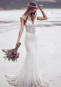 Gorgeous 2016 Summer Beach Lace Wedding Dresses Beaded Sparkling crystal Cap short sleeves backless bridal gown vestidos-in Wedding Dresses from Weddings & Events on Aliexpress.com | Alibaba Group